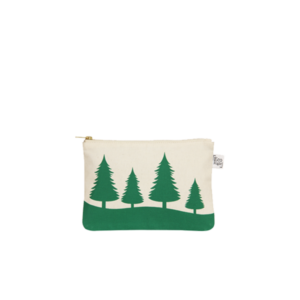 christmas cosmetic pouch_EcoRight_Natural Trees Green_Front