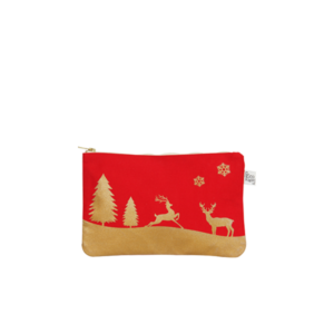 christmas travel cosmetics pouch_EcoRight_Front_Red Gold