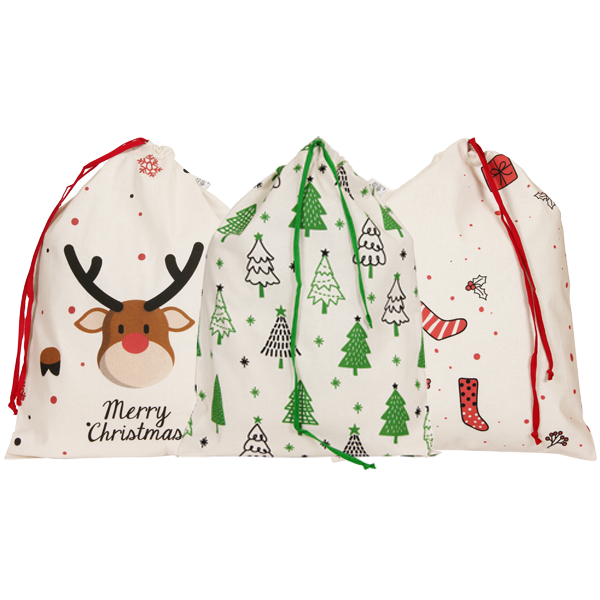 christmas drawstring gift bags_EcoRight_Front