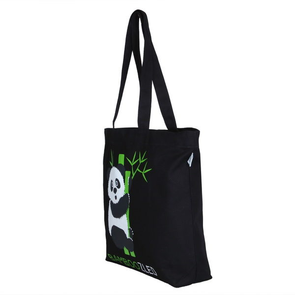 Bamboozled Panda Black Canvas Large Tote Bag | EcoRight Bags 1
