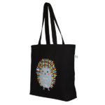 Porcupine Hug Black Canvas Large Tote Bag | EcoRight Bags 1