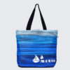 Blue As Ocean Black Juton Large Zipper Tote Bag | EcoRight Bags