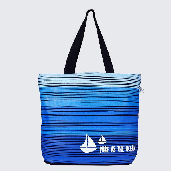 Blue As Ocean Black Juton Large Zipper Tote Bag   EcoRight Bags
