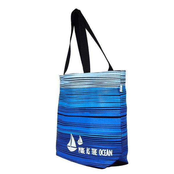Blue As Ocean Black Juton Large Zipper Tote Bag   EcoRight Bags 1