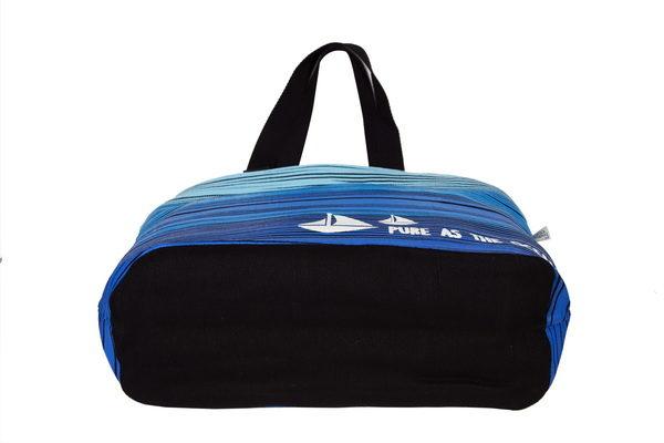 Blue As Ocean Black Juton Large Zipper Tote Bag   EcoRight Bags 3