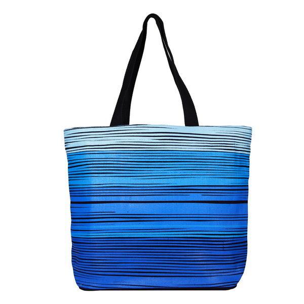 Blue As Ocean Black Juton Large Zipper Tote Bag   EcoRight Bags 2