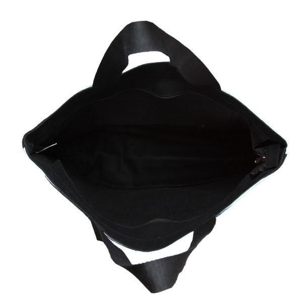 Blue As Ocean Black Juton Large Zipper Tote Bag   EcoRight Bags 4