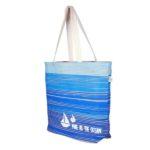 Blue As Ocean Natural Juton Large Zipper Tote Bag | EcoRight Bags 1