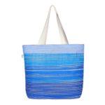 Blue As Ocean Natural Juton Large Zipper Tote Bag | EcoRight Bags 2