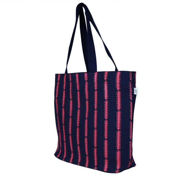 Juton Large Zipper Tote Bag Cotton Pattern Blue Ecoright