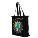 Happy Planet Black Juton Large Zipper Tote Bag | EcoRight Bags 1