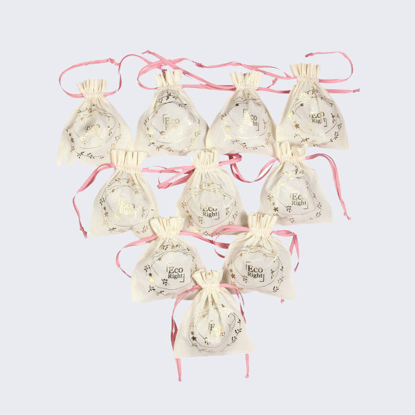 Premium Cotton Drawstring Pouch Wreath Natural (Pack of 10) | EcoRight Bags 1