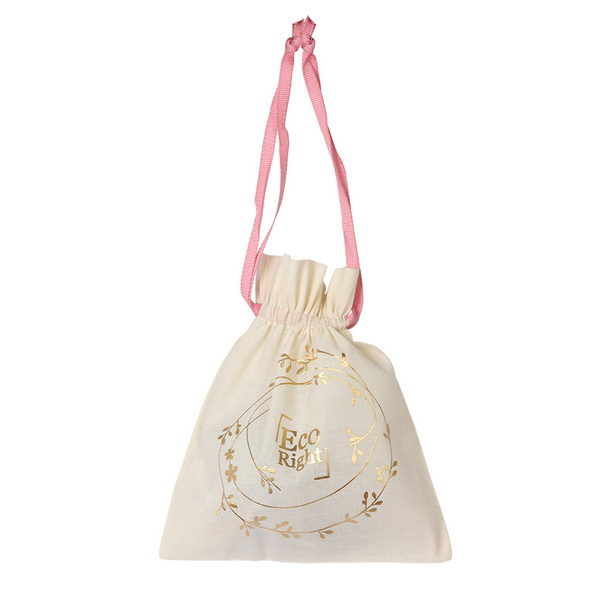 Premium Cotton Drawstring Pouch Wreath Natural | EcoRight Bags 5
