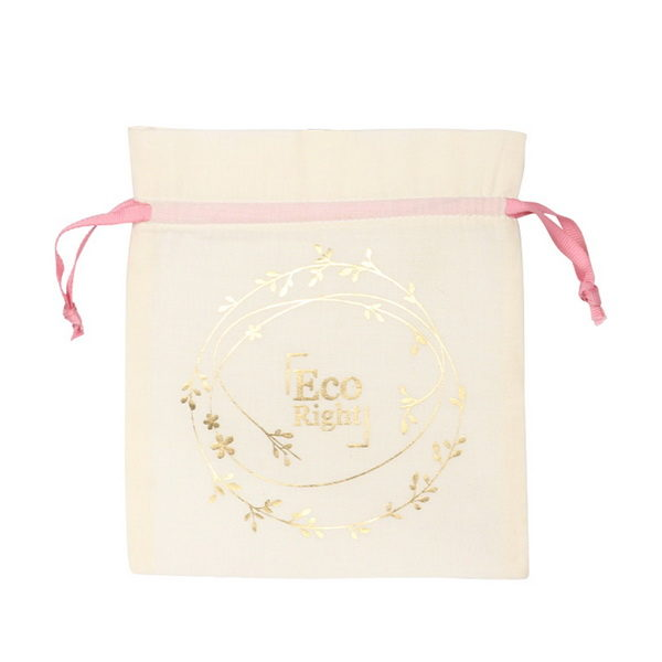 Premium Cotton Drawstring Pouch Wreath Natural | EcoRight Bags