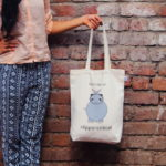 Canvas Gusset Tote Bag-0301M01-BW