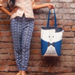Canvas Gusset Tote Bag-0301N01-BW