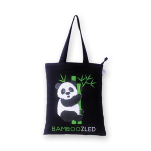Canvas Zipper Tote Bag, Bamboozled Panda - Black
