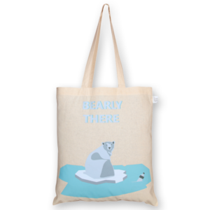 Cotton Tote Bag, Bearly There - Natural