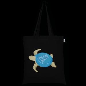 Cotton Tote Bag, Plastic Turtle – Black_EcoRightBags_1