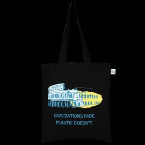 Cotton Tote Bag,Civilization Fade– Black_EcoRightBags_1