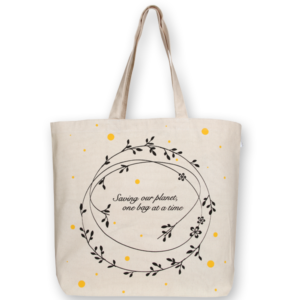 EcoRight Canvas Large Tote Bag, Save Our Planet - Natural