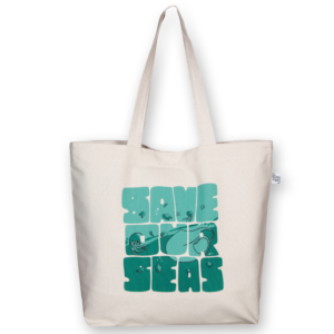 EcoRight Canvas Large Tote Bag, Save Our Seas - Natural