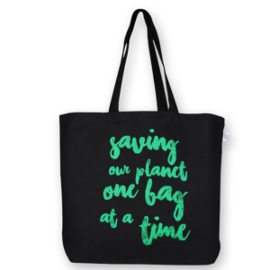 Canvas Large Tote Bag, Saving Our Planet - Black
