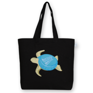 Canvas Large Tote Bag, Plastic Turtle - Black