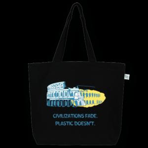 EcoRight Canvas Large Tote Bag, Civilizations Fade - Black