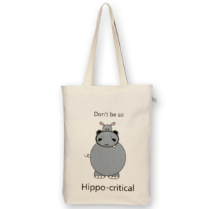 Canvas Gusset Tote Bag, Hippo-critical - Natural