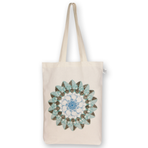 Canvas gusset tote bag, Mandala- Natural 0301O01