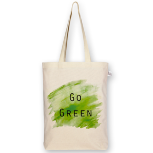 Canvas Gusset Tote Bag, Go Green - Natural