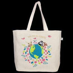 EcoRight Juton Large Zipper Tote Bag, Happy Planet- Off-white