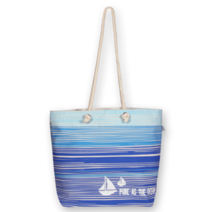 Canvas Beach Bag, Blue As Ocean - Natural