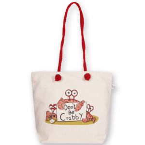 Canvas Beach Bag, Don't be Crabby - Natural