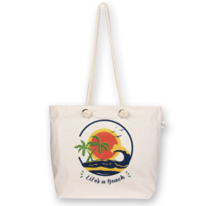 Canvas Beach Bag, Life's a beach - Natural