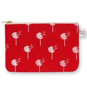 EcoRight Canvas Cosmetic Pouch, Dandelions - Red