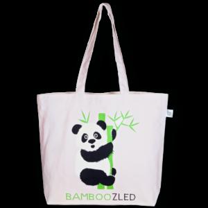 Canvas Large Tote Bag, Bamboozled Panda - Natural