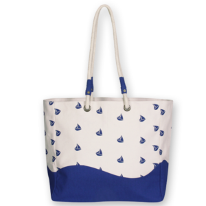 Canvas Premium Beach Bag, Boats - Natural