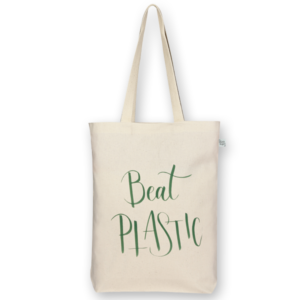 Canvas Gusset tote bag Beat plastic Natural-EcoRight