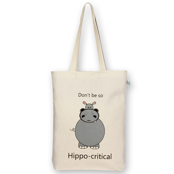 1da21461cd9 Canvas Gusset Tote Bag, Hippo-critical - Natural - EcoRight