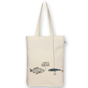Canvas Gusset tote bag Something fishy Natural-EcoRight