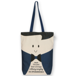 Canvas Gusset tote bag Superhero Natural-EcoRight