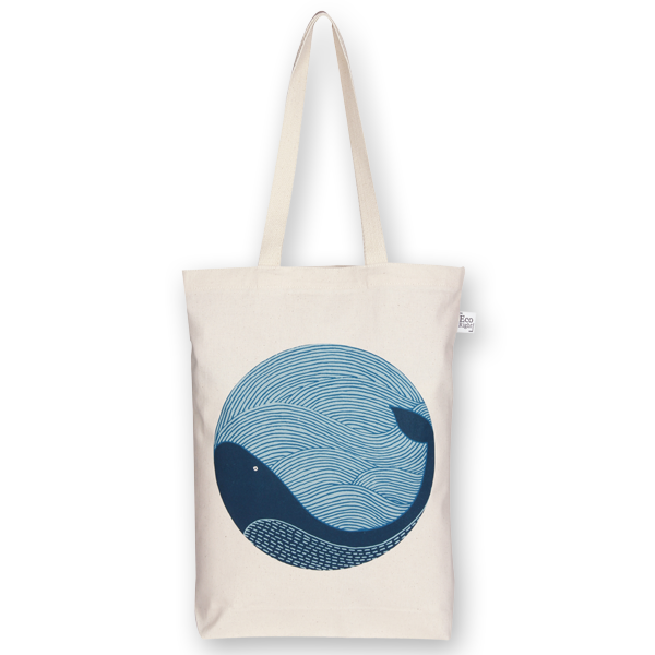 2215db54c67 Canvas Gusset tote bag Whale doodle Natural-EcoRight
