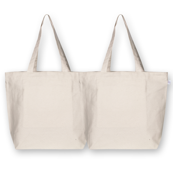 Canvas Large tote bags Plain Natural (Pack of 2) -EcoRight