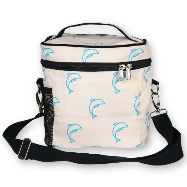 EcoRight Canvas Lunch Bag, Dolphins - Natural