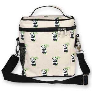 EcoRight Canvas Lunch Bag, Pandas - Natural
