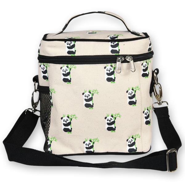 EcoRight Canvas Lunch Bag, Pandas – Natural