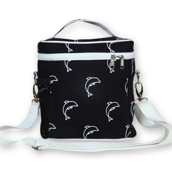 EcoRight Canvas Lunch Bag, Dolphins – Blue