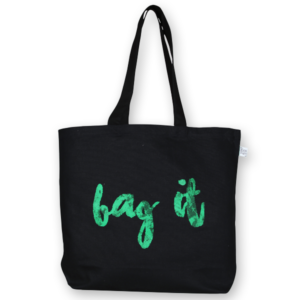 EcoRight Canvas Large Tote Bag, Bag it! - Black